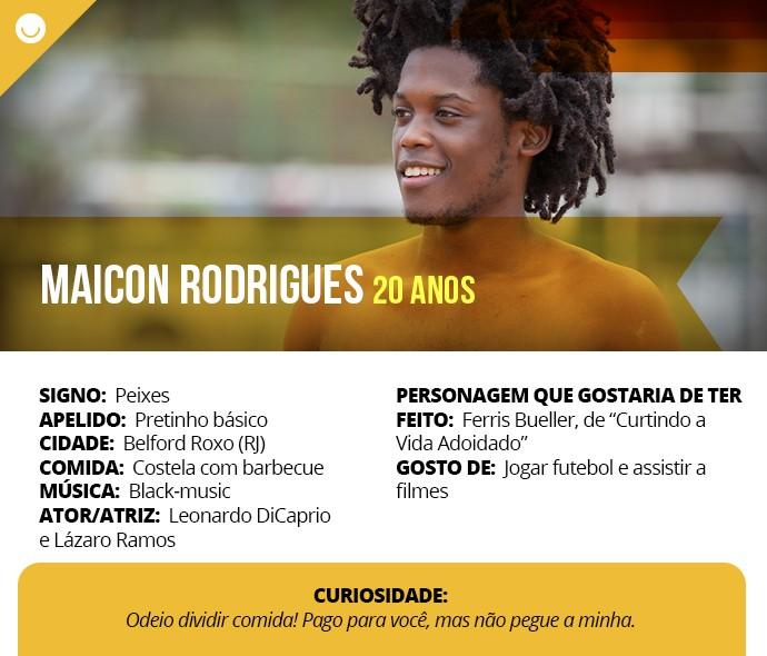 Card com informações curiosas de Maicon Rodrigues (Foto: Gshow)