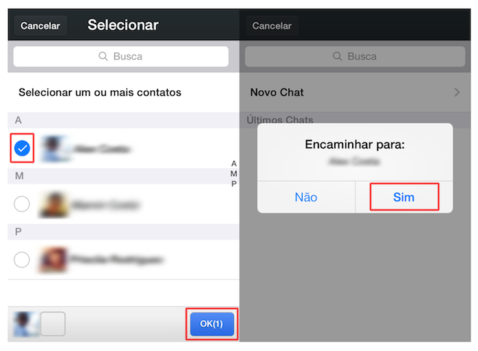 Escolhendo um usuário e encaminhando uma mensagem no WeChat (Foto: Reprodução/Marvin Costa)
