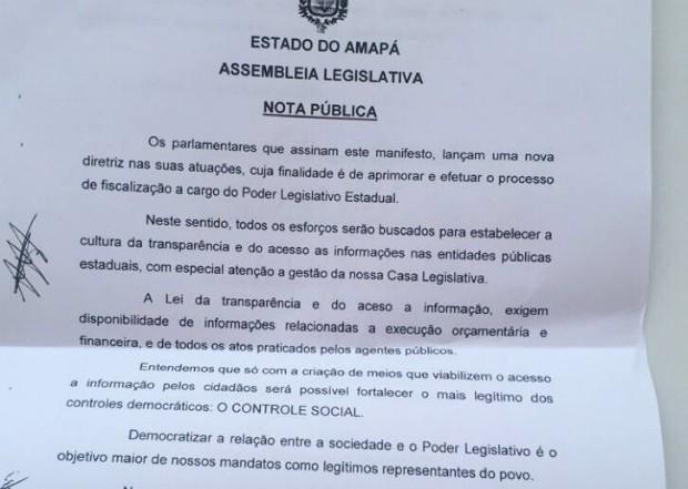 Nota mostra posicionamento de deputados estaduais do Amapá (Foto: Reprodução)