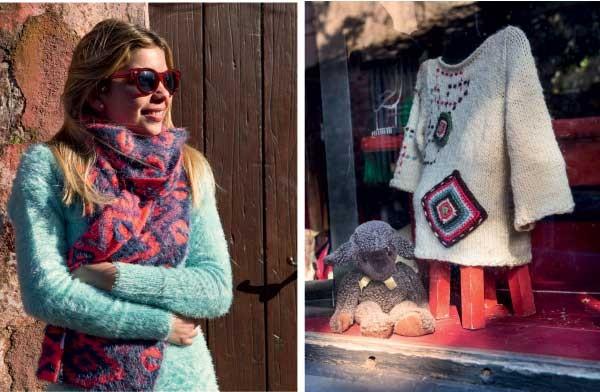 A galerista Pamela Reisch, que se mudou para Colônia há um ano, e  vitrine com produtos de lã (Foto: Marcio Scavone)