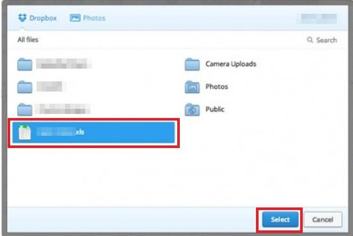 Escolhendo o arquivo salvo no Dropbox (Foto: Reprodução/ Lívia Dâmaso)