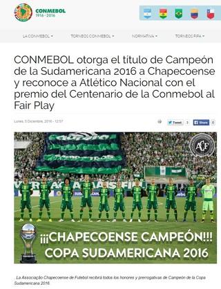 Conmebol ratifica o título da Sul-Americana para a Chapecoense (Foto: reprodução)