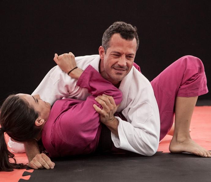 Malvino Salvador e Kyra Gracie no jiu-jitsu (Foto: Inácio Moraes / Gshow)