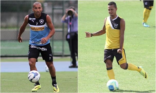 Emerson Sheik (Botafogo) e Souza (Ceará) podem voltar entre os titulares. (Foto: Divulgação/Botafogo/Ceará)