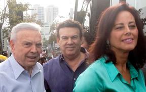 josé maria marin e o presidente do PTB, campos machado, em convenção do partido em SP