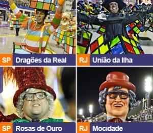 Chacrinha e Senna: veja coincidências nos desfiles (Editoria de Arte/ G1)