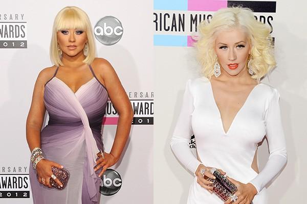 As duas fotos foram tiradas com um ano de diferença entre elas: a da esquerda em novembro de 2012 e a da direita em novembro de 2013. Parecem até duas pessoas diferentes, né? Mas é a cantora Christina Aguilera nas duas. (Foto: Getty Images)