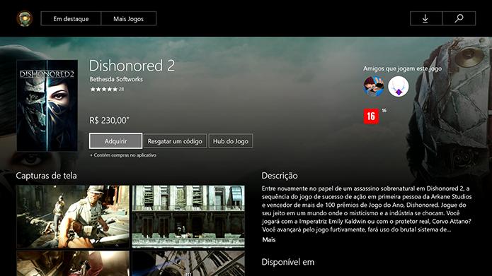 Clique para adquirir o Dishonored 2 (Foto: Reprodução/Murilo Molina)