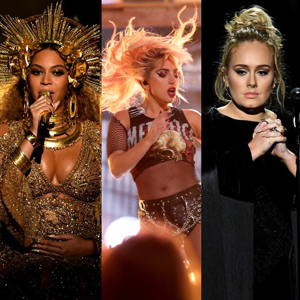 Beyoncé, Lady Gaga e Adele (Foto: Getty Images)
