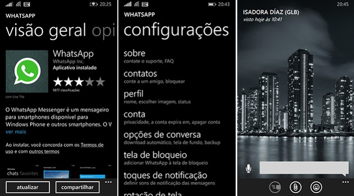 O novo layout do WhatsApp para  Windows Phone  (Foto: Reprodução/ WhatsApp)