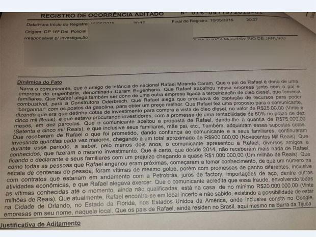 Registro de ocorrência feito por vítimas na delegacia (Foto: Reprodução/Polícia Civil)