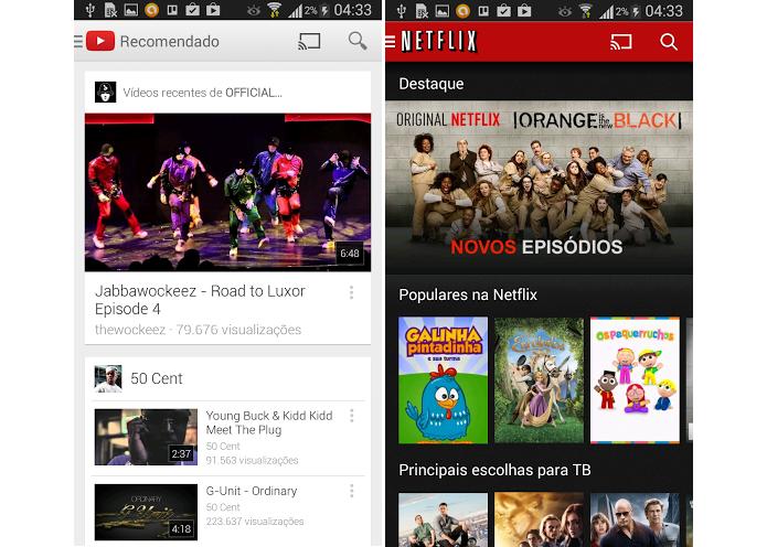 YouTube e Netflix são exemplos de transmissão (Foto: Thiago Barros/Reprodução) (Foto: YouTube e Netflix são exemplos de transmissão (Foto: Thiago Barros/Reprodução))