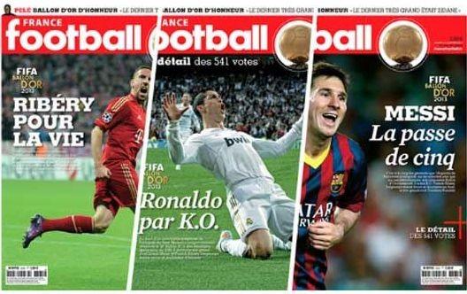 Três capas da France Footbal para a Bola de Ouro