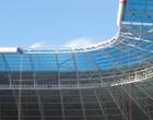 Placas azuis dão fim à cobertura (Hector Werlang/Globoesporte.com)