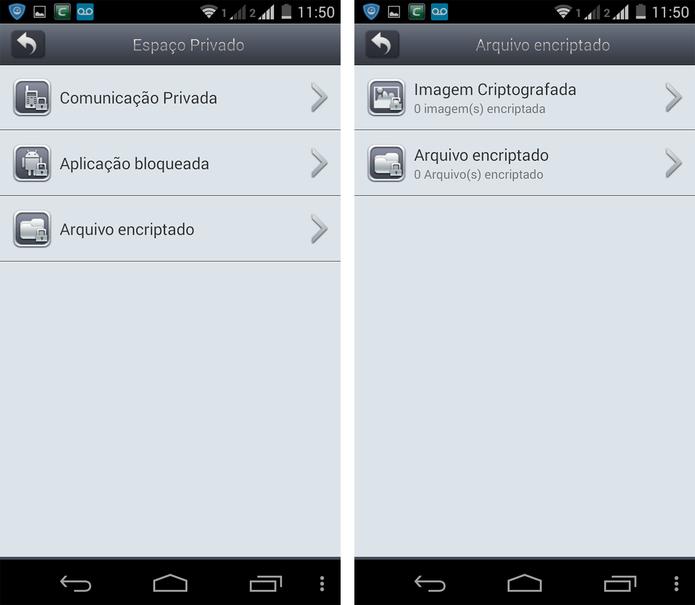 Espaço privado do Comodo Mobile Security (Foto: Reprodução/ Marcela Vaz)