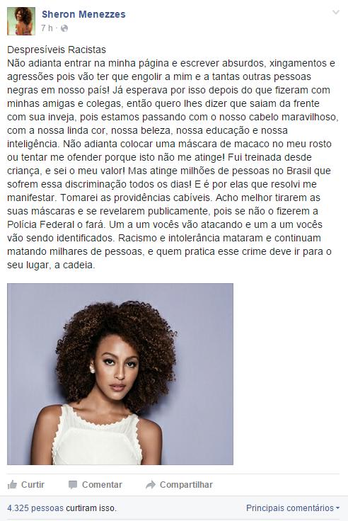 Atriz Sheron Menezzes desabafou no Facebook após sobre ofensas racistas (Foto: Reprodução/ Facebook)