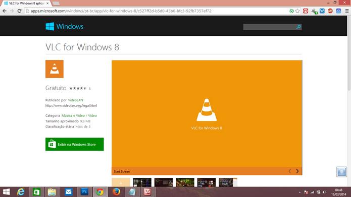Download do VLC para Windows 8 abrirá primeiro na versão web da loja de aplicativos (Foto: Reprodução/Elson de Souza)