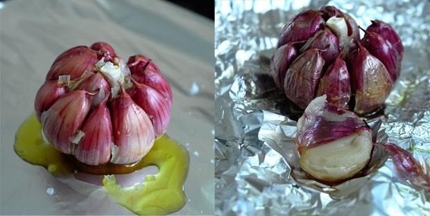 Antes e depois do alho assado (Foto: André Lima de Luca)