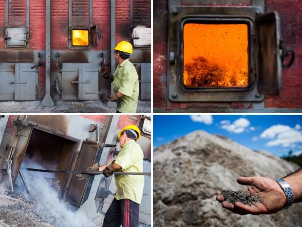 O bagaço da cana-de-açúcar que não serve mais vai para o forno e de lá vira as cinzas utilizadas na fabricação do tijolo. (Foto: Jonathan Lins/G1)