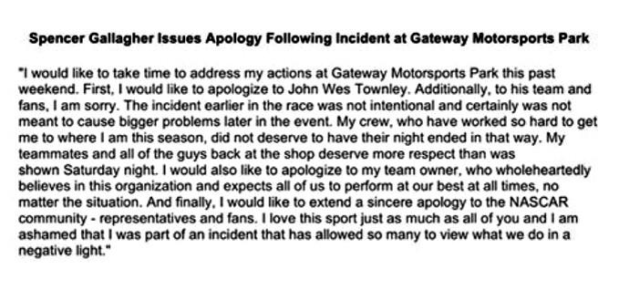 Depoimento Spencer Gallagher da NASCAR (Foto: Divulgação)