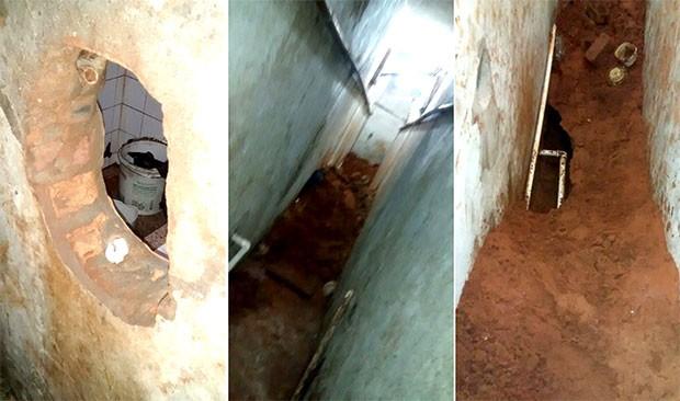 Presos abriram buraco na parede e depois escavaram uma saída pelo piso (Foto: GOE/Grupo de Operações Especiais)