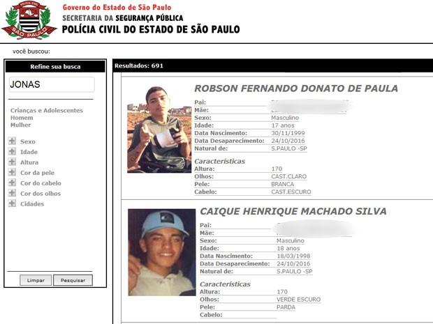 Quatro dos cinco rapazes que sumiram tiveram suas fotos e dados divulgados no site de pessoas desaparecidas da Polícia Civil de São Paulo (Foto: Reprodução/Polícia Civil)