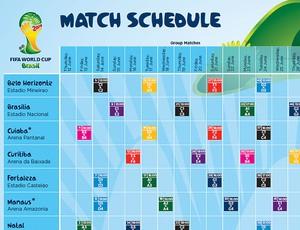 Confira a tabela completa com os jogos da Copa do Mundo de 2014 (Divulgação / FIFA.com)