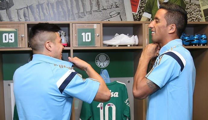 Cristaldo e Lucas Barrios Palmeiras (Foto: Cesar Greco/Ag Palmeiras/Divulgação)