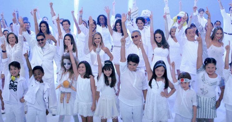 Elenco do SBT grava vinheta de final de ano (Foto: Divulga&#231;&#227;o)