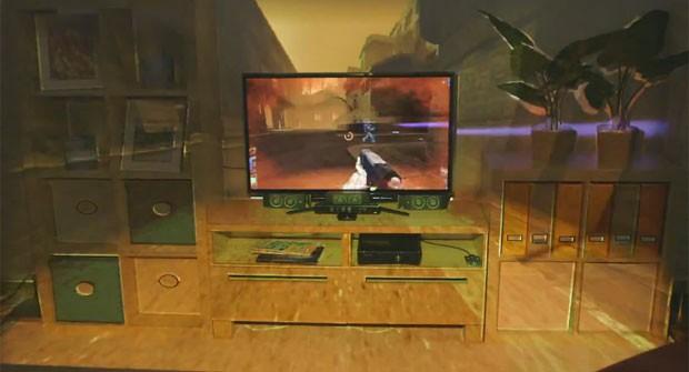 Projeto da Microsoft usa o Kinect e projetor para fazer game sair da tela (Foto: Divulgação)