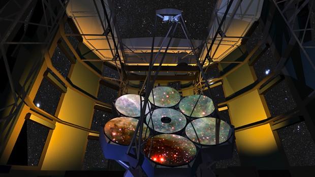 Ilustração projeto de Giant Magellan Telescope (GMT): instrumento terá 7 espelhos primários de 8,4 metros de diâmetro cada um, totalizando 25 metros de diâmetro. (Foto: Giant Magellan Telescope/Divulgação)