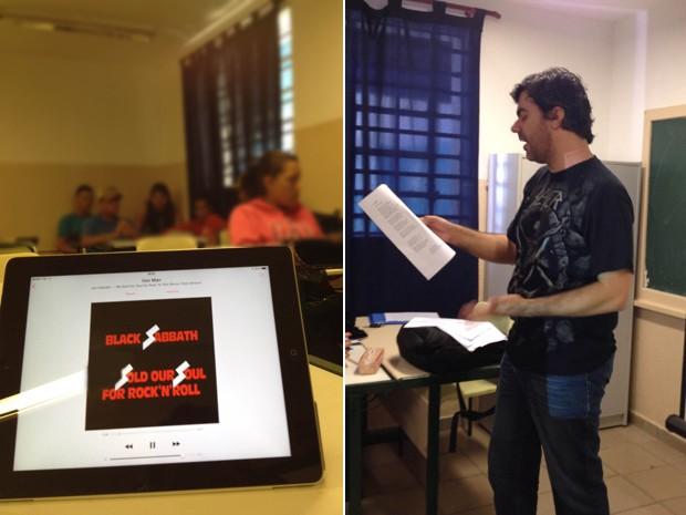 Emerson Gomes, que faz doutorado na USP sobre heavy metal e astronomia, dá aula em escola estadual de Iperó (SP), usando música do Black Sabbath para despertar atenção dos alunos para física (Foto: Arquivo Pessoal)