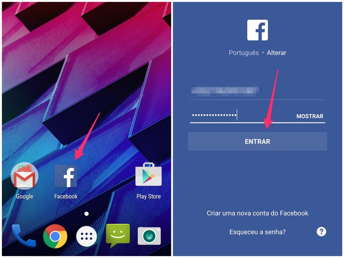Entre na rede social com a sua segunda conta do Facebook (Foto: Reprodução/Lucas Mendes)