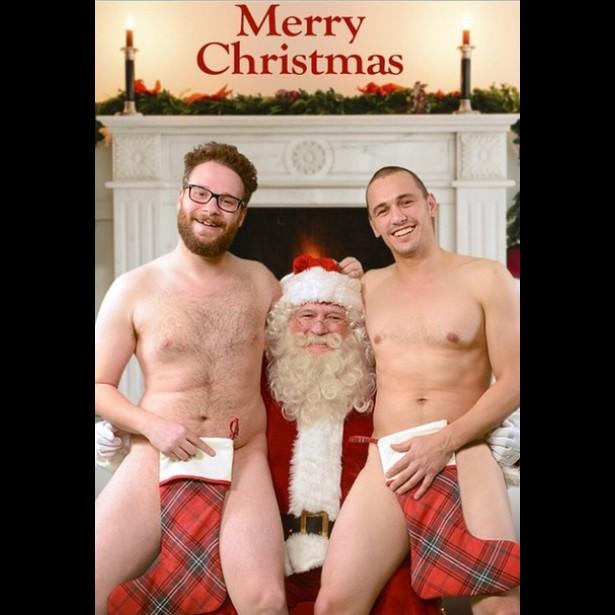 Seth Rogen, James Franco, nudez e Papai Noel. Tudo normal como sempre na vida dos dois comediantes. (Foto: Instagram)