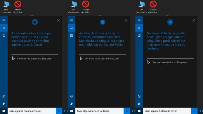 Cortana pode contar histórias de terror aos usuários do Windows 10 (Foto: Reprodução/Elson de Souza)