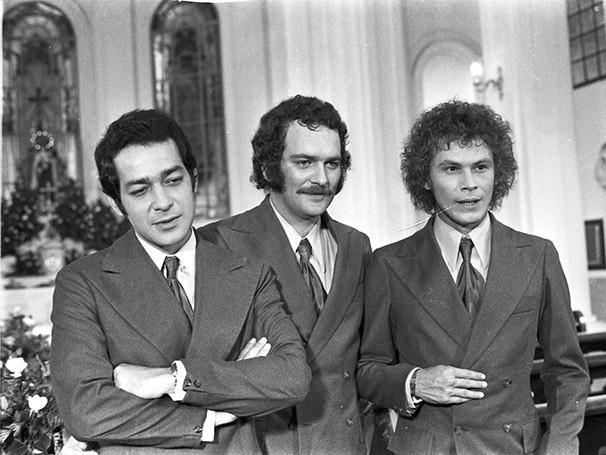 Gracindo Junior, José Augusto Branco e José Wilker na adaptação para a TV (Foto: CEDOC TV Globo)