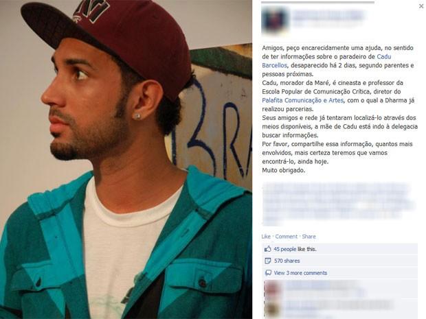 Família faz apelo no Facebook após desaparecimento do cineasta Cadu Barcellos (Foto: Reprodução/ Facebook)
