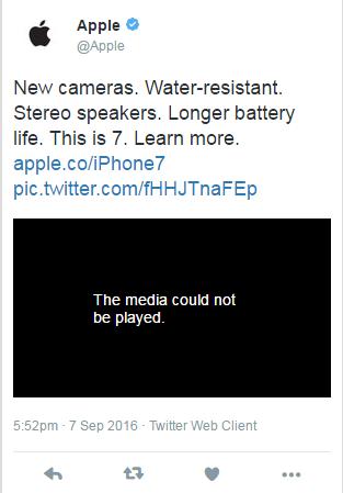 Twitter da Apple com o vídeo publicado acidentalmente (Foto: Reprodução/Twitter)