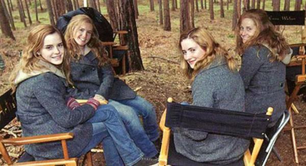 Emma Watson e dublês (Foto: Reprodução)