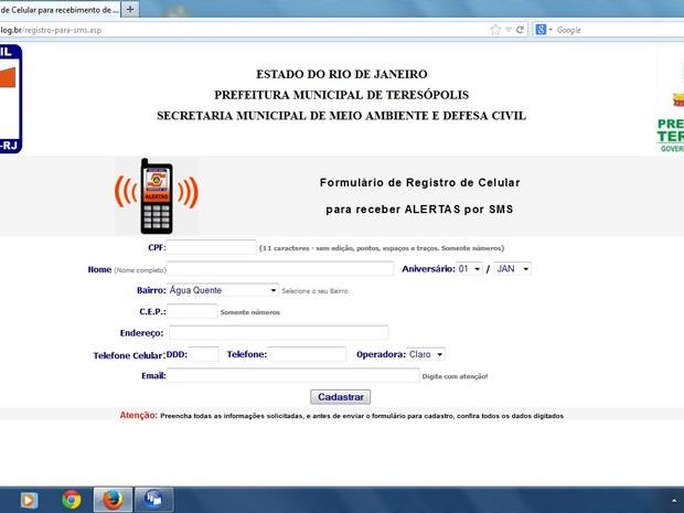 Tela da página Defesa Civil de Teresópolis (Foto: Reprodução/Blog Defesa Civil de Teresópolis)