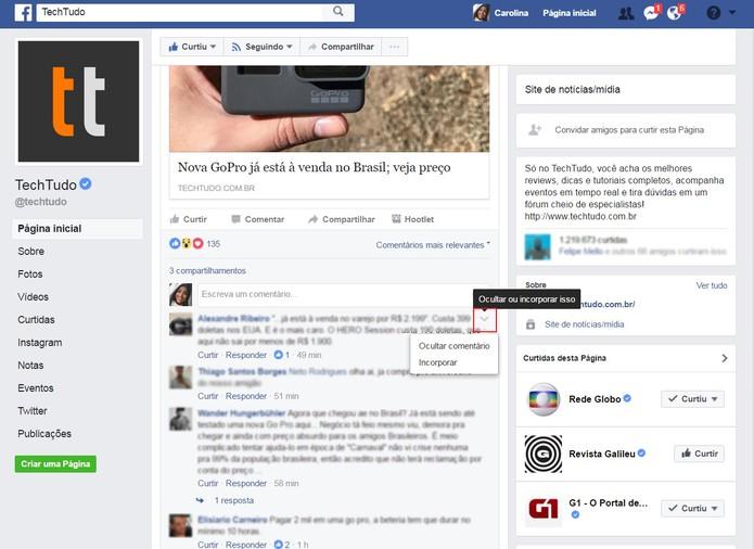 Como ocultar um comentário do Facebook (Foto: Reprodução/Carolina Ochsendorf )