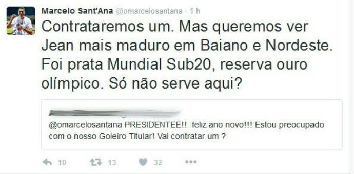 Sant'Ana fala de goleiro do Bahia (Foto: Reprodução / Twitter)