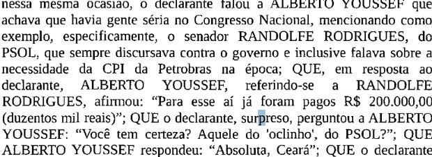 Trecho de depoimento em que o senador Randolfe Rodrigues (Rede-AP) é citado (Foto: Reprodução)