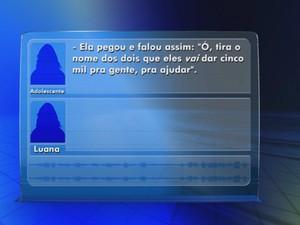 Menor diz dos R$ 5 mil que iria receber se mudasse versão (Foto: Reprodução/ TV TEM)