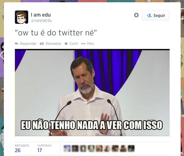 Comentário de Eduardo Jorge feito a Levy Fidelix foi repetido por centenas de usuários no Twitter (Foto: Reprodução/Twitter/varelaEdu)