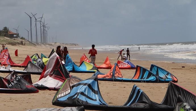 Campeonato de Kitesurf, em Barra de Camaratuba, na Paraíba (Foto: Sérgio Aguiar / Divulgação)
