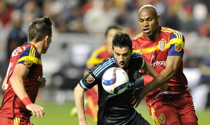 David Villa, em lance do jogo de seu time, o New York FC, contra o Real Salt Lake (Foto: Reprodução / Facebook)