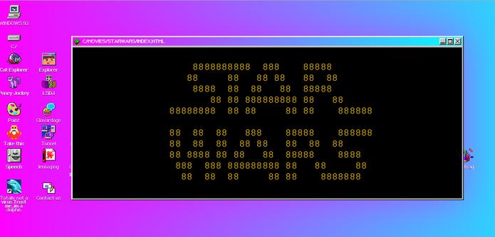 Star Wars no prompt de comando também está presente no Windows 93 (Foto: Reprodução/Elson de Souza)