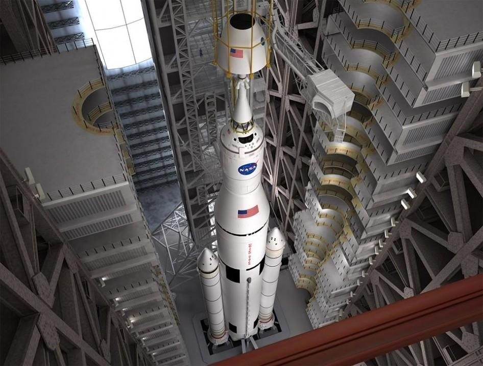 Concepção artística do foguete SLS e da nave Orion (Foto: NASA)