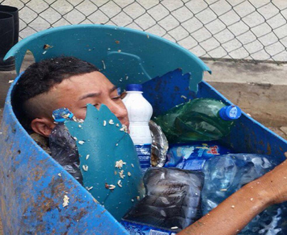 Detento tentou escapar de presídio escondido dentro de tambor de lixo. (Foto: Sobral 24 Horas)